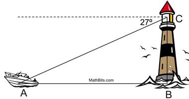 Trigonometry Word Problems Practice - MathBitsNotebook(Geo